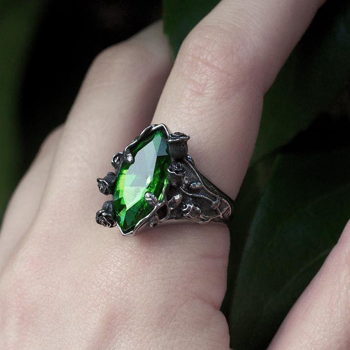 VERIDIAN. Dark Foliage Green Crystal Ring