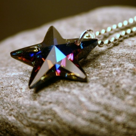 Colorblind ... Rare Heliotrope Swarovski Crystal Star on Sterling Silver ... Necklace ... Deep Purple Rainbow