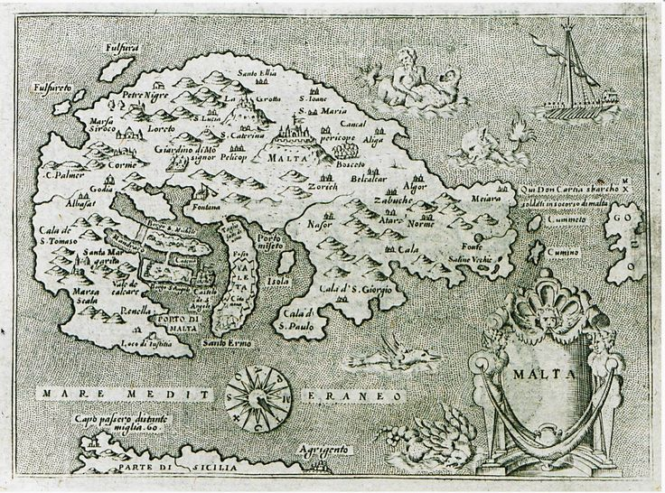 "April 6, #MaltaMapMonday continues are recent posting of 17th century maps, with this nice map ""Malta"" taken from ""L'isole più famose del mondo descritte da Tomaso Porcacchi da Castiglione,' printed in Padua in 1620. Image courtesy of The Gennadius Library - The American School of Classical Studies at Athens."