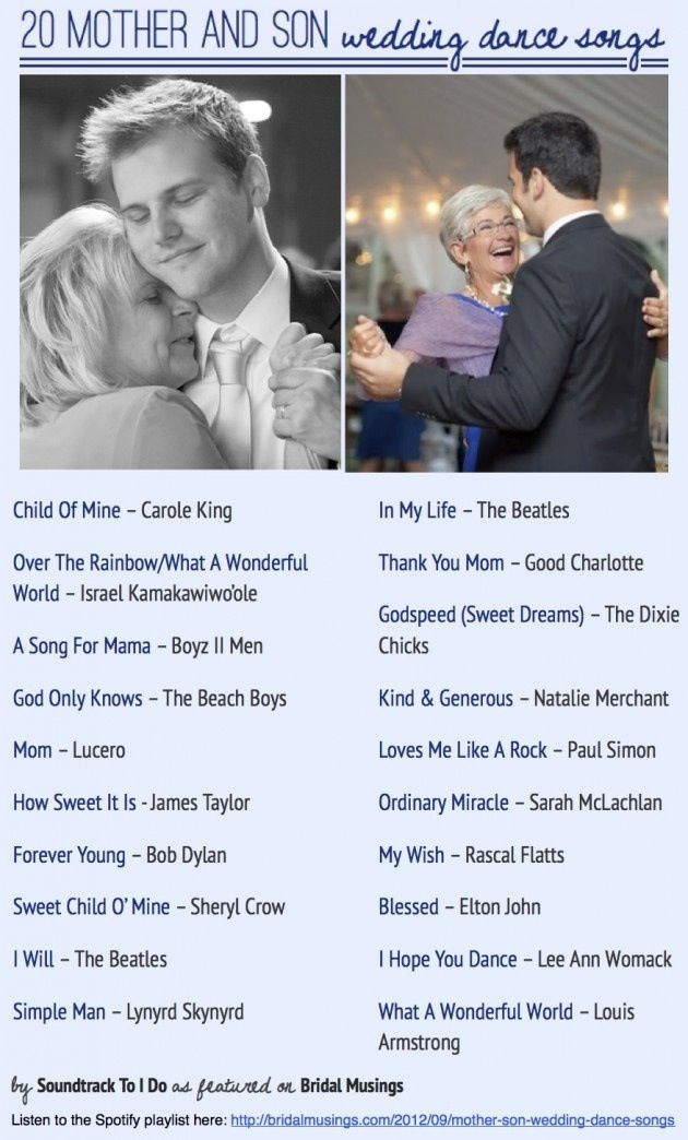 Songs for Mother & Son Wedding dance.