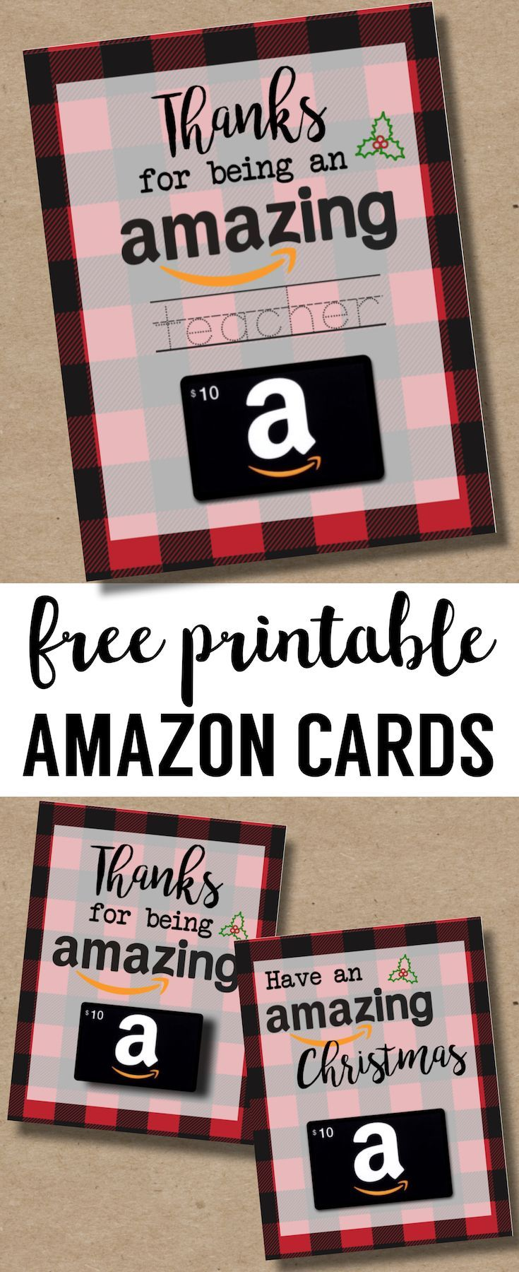 Printable Christmas Gift Card Holders For Amazon Print Free Printable Buffalo Plaid Flan Printable Christmas Gift Card Amazon Gift Card Free Teacher Gift Card