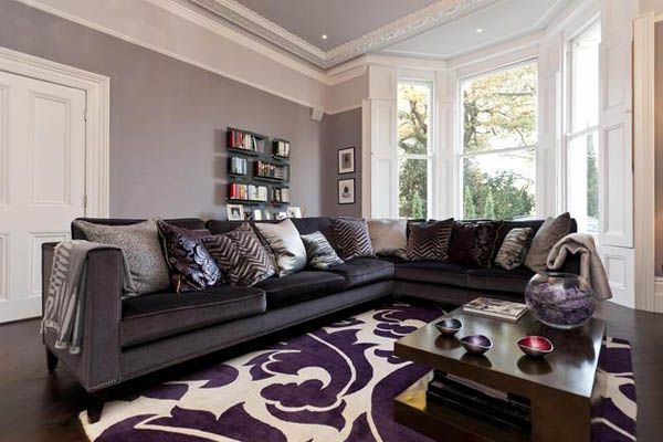 Purple and gray living room ideas home decor inspiration for Black and purple living room ideas