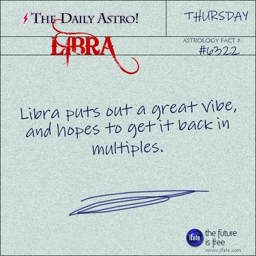 Libra Daily Astro!: Take a look at your horoscope for today, Libra.  Visit iFate.com today!