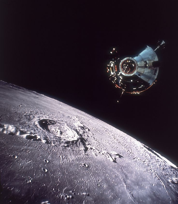 The Apollo Command/Service Module 'Columbia', viewed from 'Eagle', stationed over the moon's surface during the Apollo 11 mission, 20th July 1969. (Hulton Archive/Getty Images)