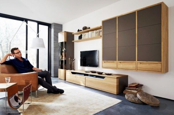 Decoration - Simple Light Wood Modern Media Center With Chocolate Accents Shelf: Wood Wall Panels Unit Combinations Design Ideas by Hülsta