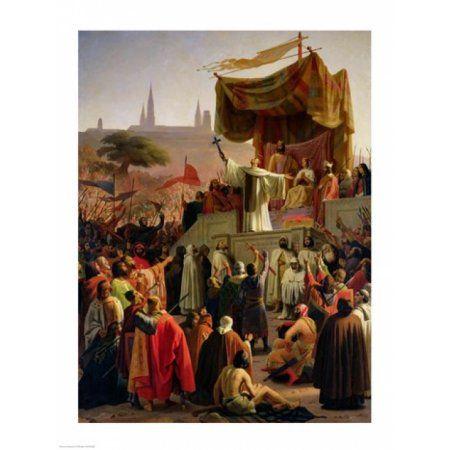 St Bernard Preaching the Second Crusade in Vezelay Canvas Art - Emile Signol (18 x 24)