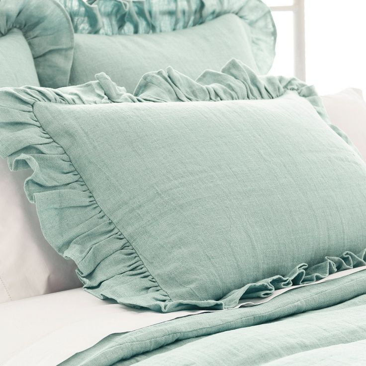 Pine Cone Hill Stone Washed Linen Sky Ruffled Pillow Sham