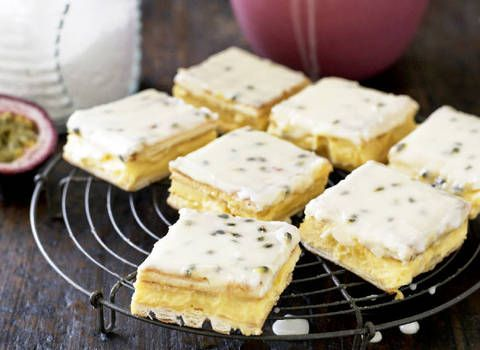 Vanilla slice with passionfruit