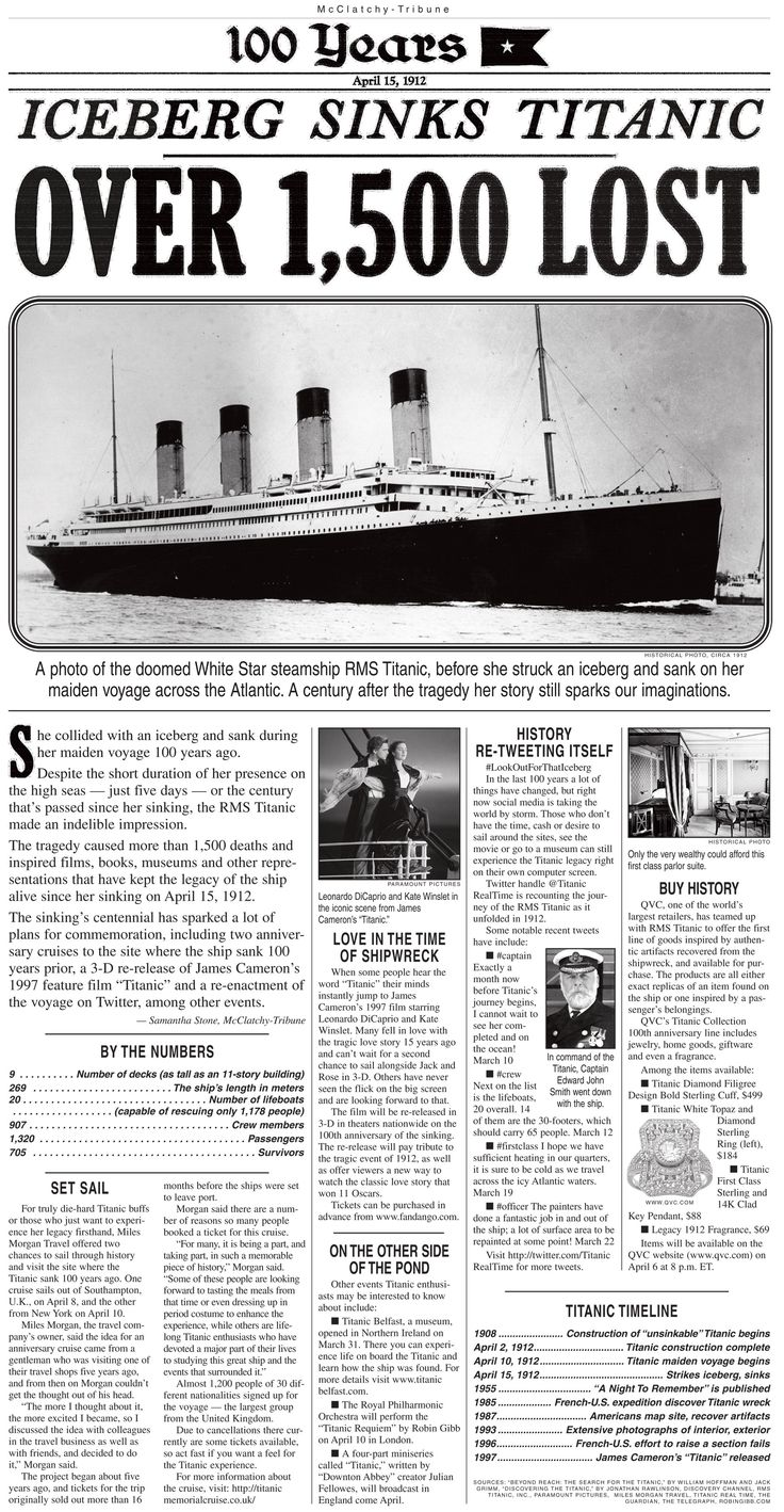 Here is some information on the Titanic.