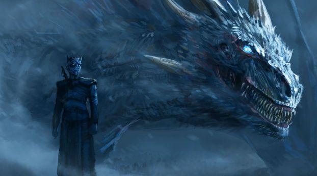 Wallpaper Night King Blue Eyes White Dragon Ice Dragon Game Of Thrones Game Of Thrones Dragons Dragon Games