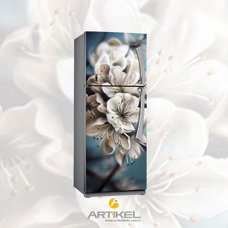 """Beyaz eşyanızı 'Çiçek"""" modeli ile renklendirin... #evdekorasyon #sticker #beyazeşyasticker"""