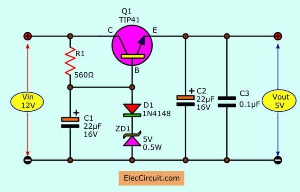12v To 5v Converter 12v To 5v Converter Step Down Regulator In Many Ways To Electronic Circuit Projects Electronics Circuit Electronics Projects For Beginners