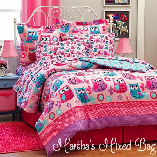 hoot owls girls pink teal nature flowers twin full queen size comforter bed set