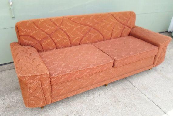 Vintage 1960S Orange Sofa Couch Davenport Mid Century