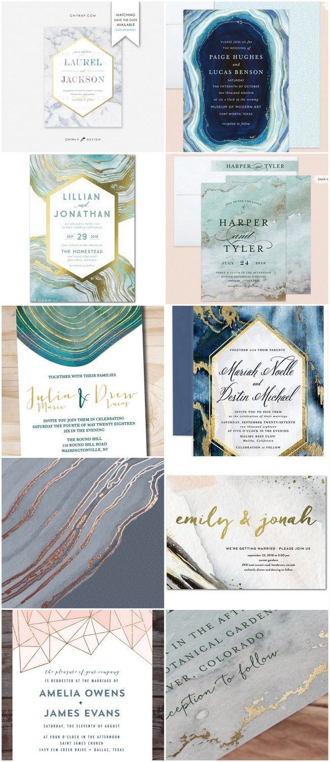 15 Geode Agate and Crystal Wedding Invitations