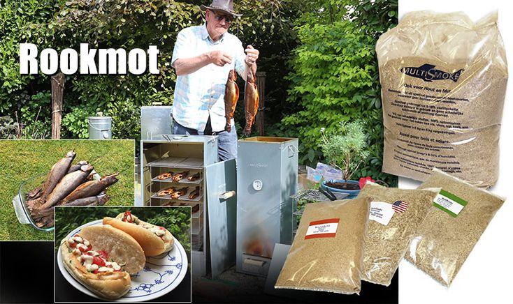 Rookmot gebruikt in rookovens om heerlijke gerookte smaak aan eten te geven: roken van vis; forel, makreel, paling, kip, gevogelte, eend wild in rookoven