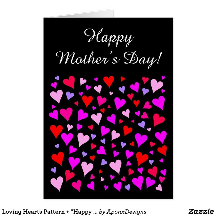 """Loving Hearts Pattern + """"Happy Mother's Day!"""" Card"""