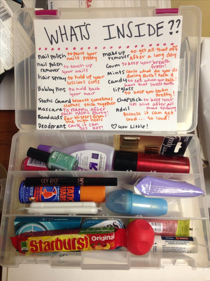 RUSH week survival kit for my beautiful Little @meaghaghshenas