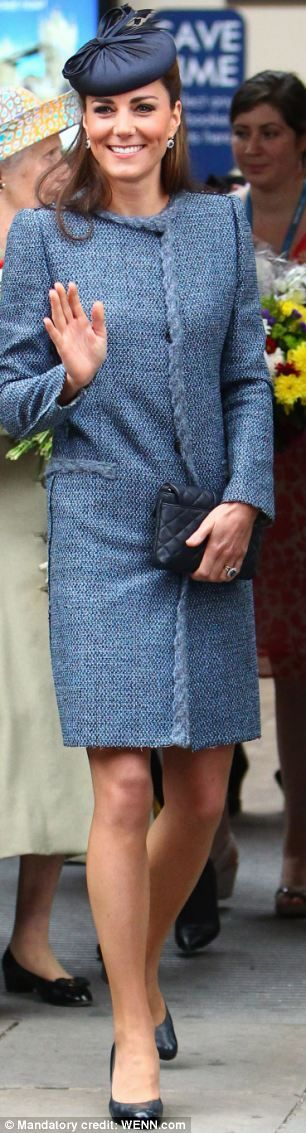 Kate on 6-13-12 recycling her M Missoni tweed coat dress, Rachel Trevor Morgan hat and LK Bennett Shoes