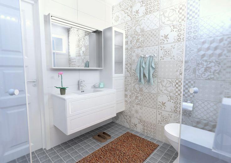 Kylpyhuonesuunnitelma Bristol.   Tämän valoisan kypyhuoneen helmi on itämaisvaikutteinen seinälaatta Bristol, kuin kaunista tilkkutäkkiä seinällä. www.k-rauta.fi