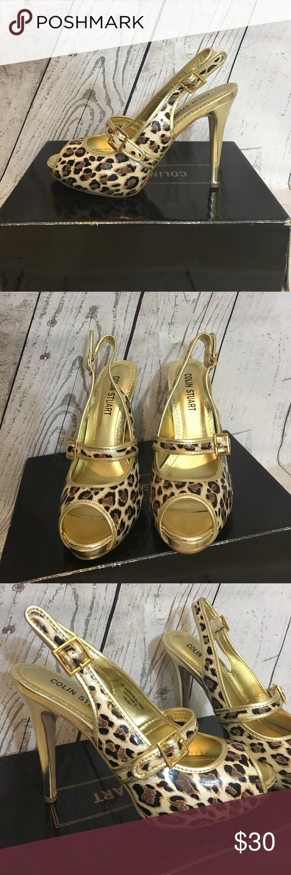 Colin Stuart open-toed leopard stilettos Brand NEW in box! Colin Stuart leopard print, open-toed, stiletto heels. Size 8. I purchased these online from Victoria's Secret but never had anywhere to wear them. Absolutely stunning gold color! Don't miss out on these! Perfect for spring and summer and a night out on the town. Could also be great shoes to wear to a wedding 😍🖤👠 Colin Stuart Shoes Heels