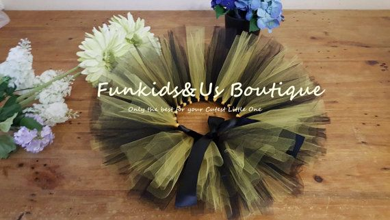 Yellow and Black   Baby Tutu Skirt Black  by FunkidsandUsBoutique