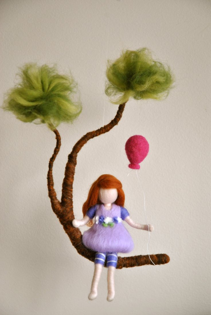 Girls Mobile Waldorf inspired needle felted : Girl in purple with  balloon. $66.00, via Etsy.