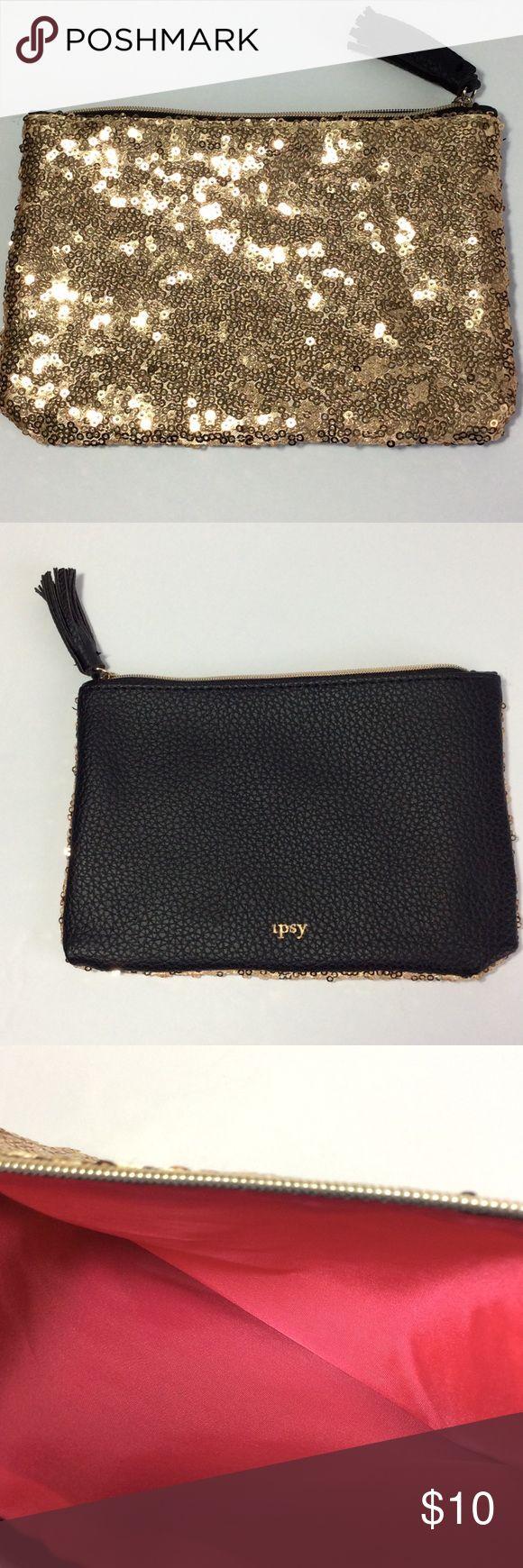Ipsy Gold Sequin Makeup Bag With Black Tassel NWOT Ipsy