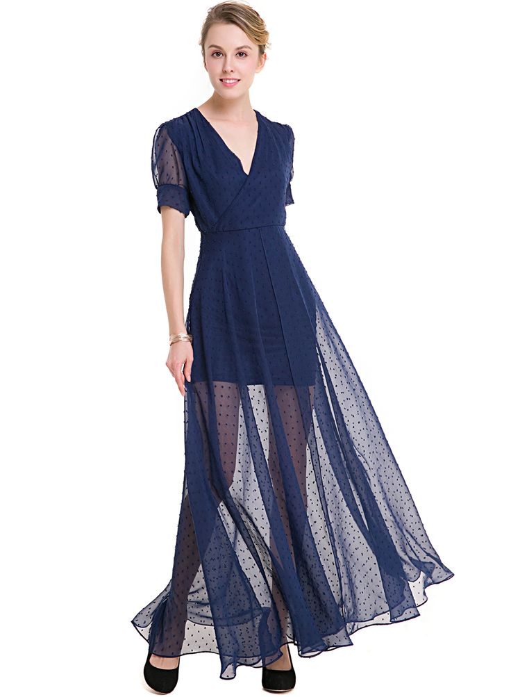 The dress features v neck, short sleeve, polka dots pattern,  high slit and maxi length.;100%Polyester;The dress features v neck, short sleeve, high slit and polka dots pattern.;Perfect as evening dresses, wedding guest dresses, prom dress, bridesmaid dre