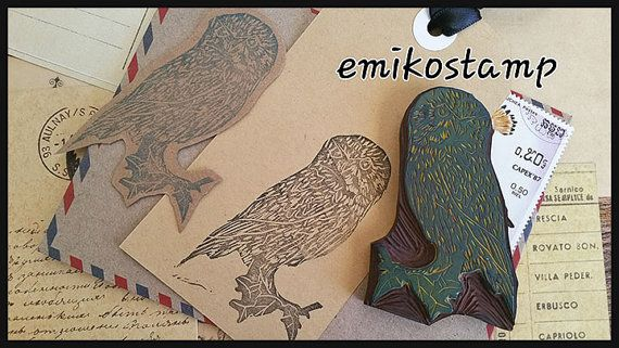 Owl rubber stampbird hand carved stampwoodland by emikostamp