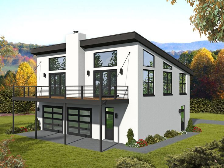 062g 0204 Modern Drive Thru Garage Plan In 2020 Carriage House Plans House Plans Garage Apartment Plans