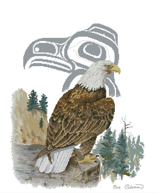 Белоголовый орлан - Вышивка