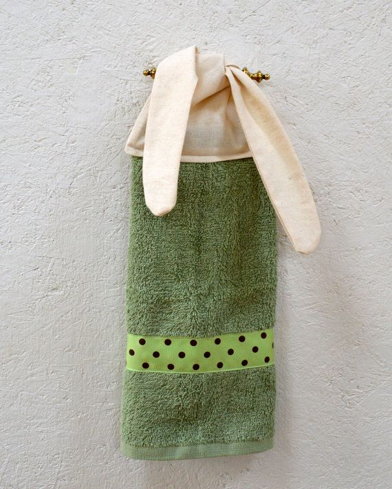 Wonderful Bathroom Hand Towel Green Hand Towel Tie On By SuesAkornShop,