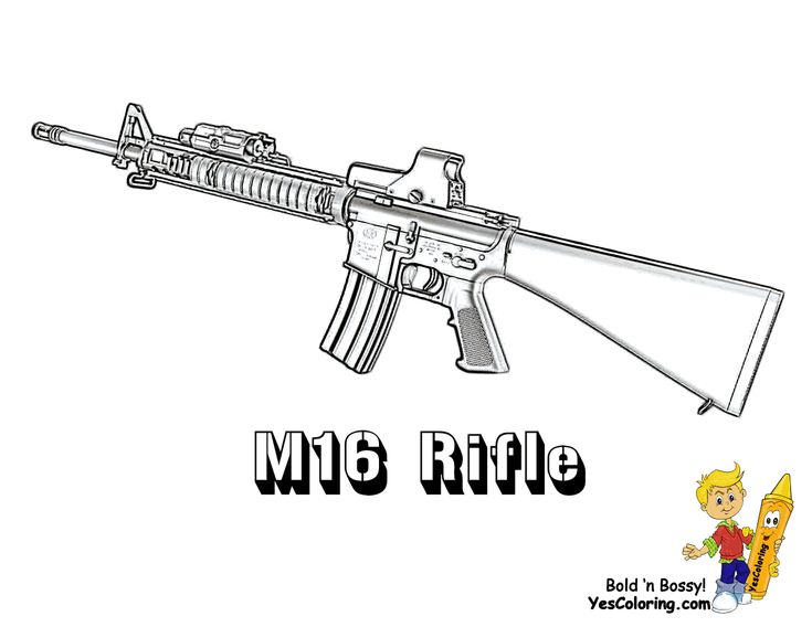Classic M16 Rifle #Gun Coloring Page to Print...http://www.yescoloring.com/images/05_military_rifle_at_coloring-pages-book-for-kids-boys.gif
