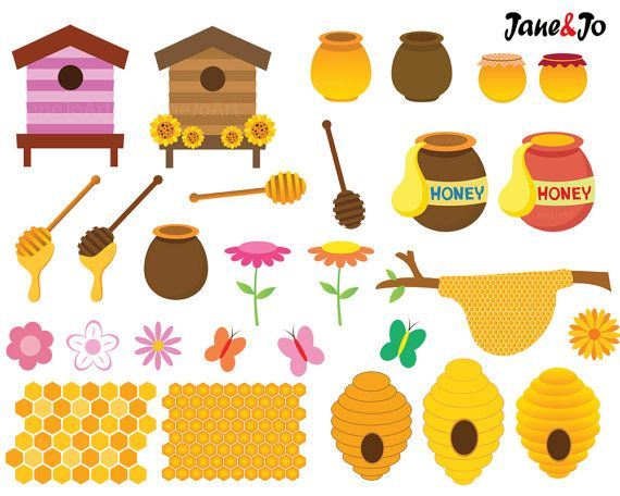 62 Bee Clipart Bees Honey Clip Art By JaneJoArt