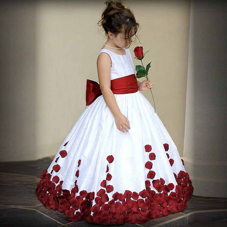 Flower Girl Dresses For Weddings With Red Bow Sleeveless Taffeta Pageant Dresses for Little Girls First Communion Dresses-in Flower Girl Dresses from Weddings & Events on Aliexpress.com | Alibaba Group