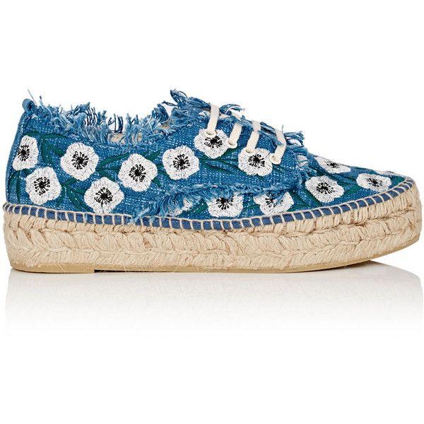 Loeffler Randall Women's Alfie Denim Espadrille Sneakers ($275) ❤ liked on Polyvore featuring shoes, sneakers, denim shoes, espadrille sneakers, fringe sneakers, lace up espadrilles and platform espadrille sneakers