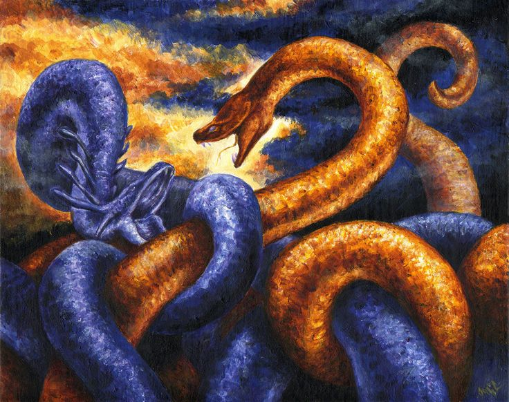 Trentren Vilu - Earth and Sea snakes in the creation of the world. Told by the Mapuche.