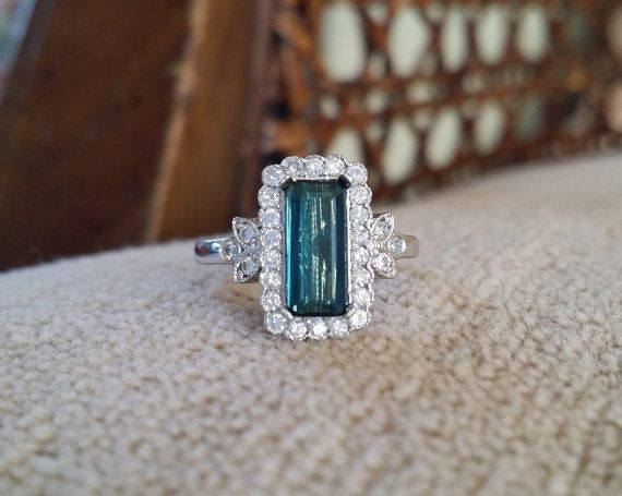 Emerald Halo Blue Teal Tourmaline Diamond Flower Gemstone