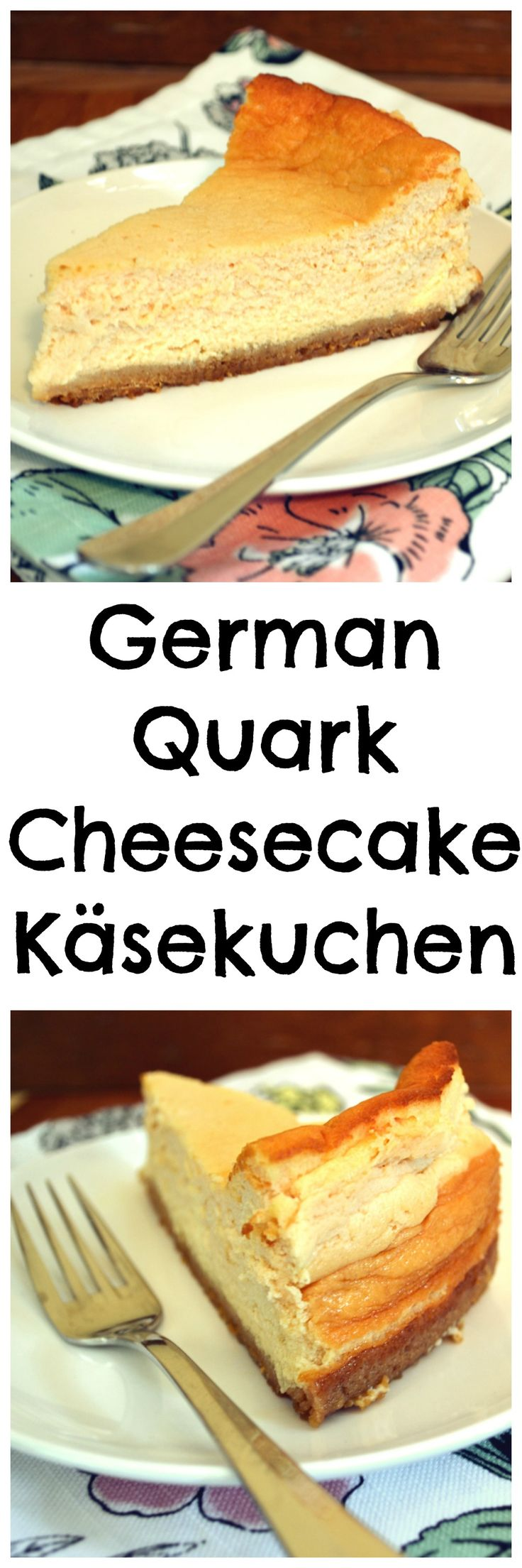 Käsekuchen - a delicious, lightly sweetened German Cheesecake made with quark. It's custard-like texture is much lighter in the mouth and on the waist.