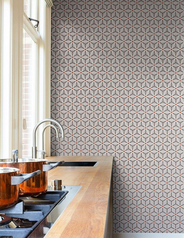 Hexagonal geometric wallpaper by Walls Republic