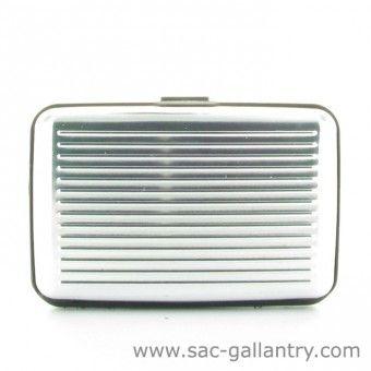 Porte cartes rigide coloris argent - petite maroquinerie de la boutique Sac Gallantry.com