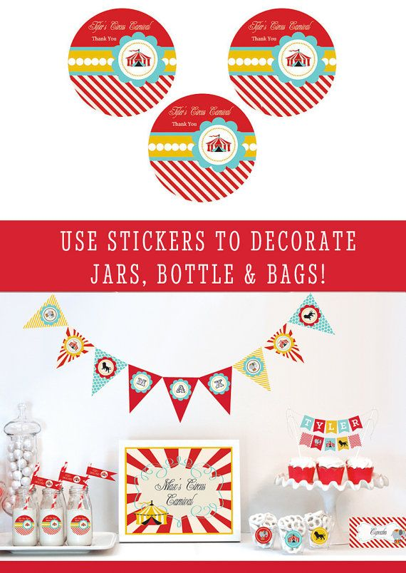 Carnival Party Favor Stickers will help you decorate your circus theme party favors for a birthday party or even a circus baby shower. Each label