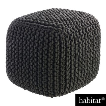Habitat - Knot Knitted Square Pouf Charcoal at Homebase -- Be inspired and make your house a home. Buy now.