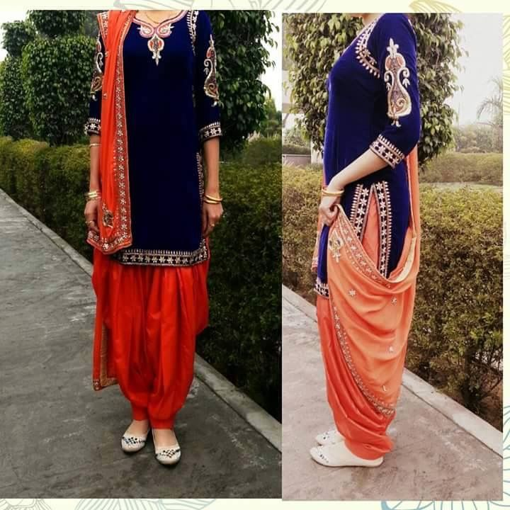 amazing royal blue and orange salwar suit