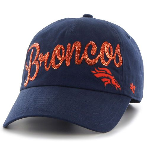 '47 Brand Denver Broncos Women's Navy Sparkle Script Clean Up Adjustable Hat