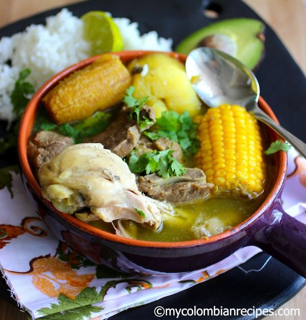 sancocho trifasico. It is a common dish although ingredients do vary by region. In Colombia it includes chicken, plantains, yucca, cilantro, corn, and potatoes. Sometimes fish is used instead of chicken in the Caribbean though you may find meat or pork instead too.
