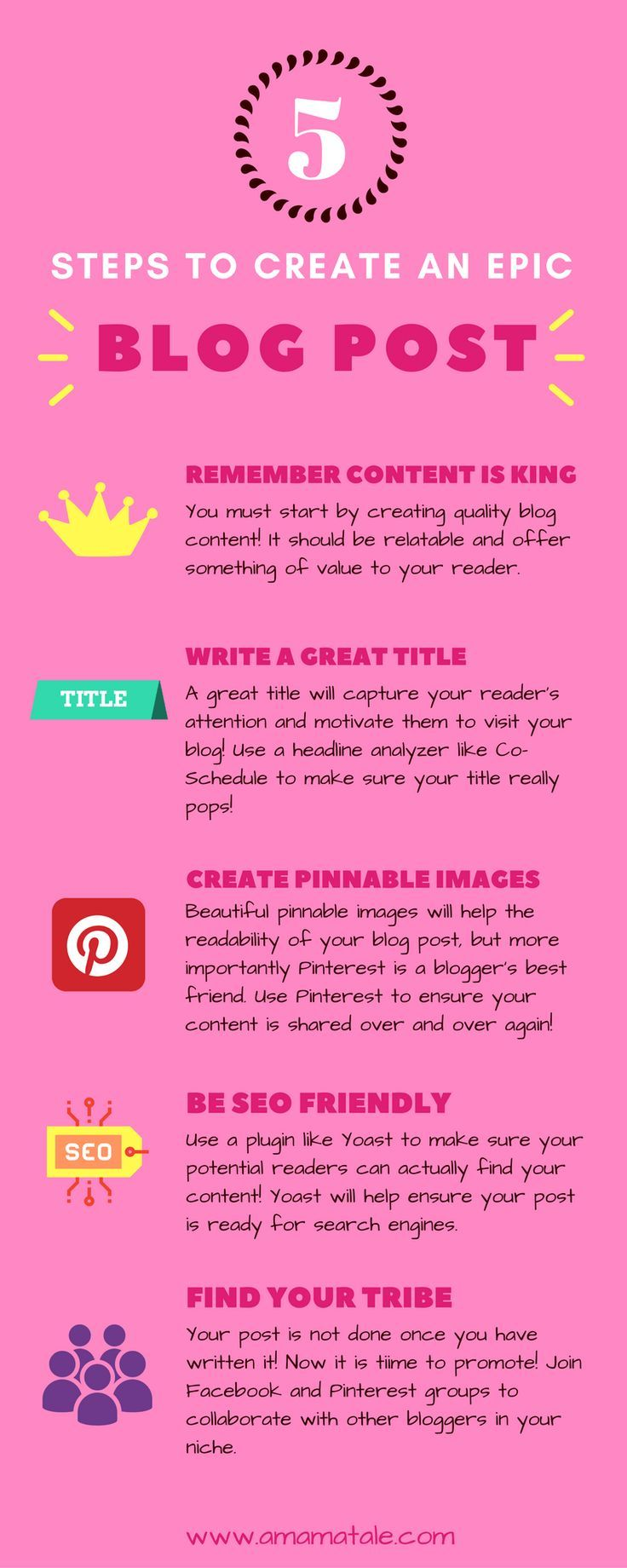 5 Steps to Create an Epic Blog Post What every blog post really needs to get great blog traffic to your site and more shares of your content. Click to read more blogging tips and tricks! http://www.amamatale.com