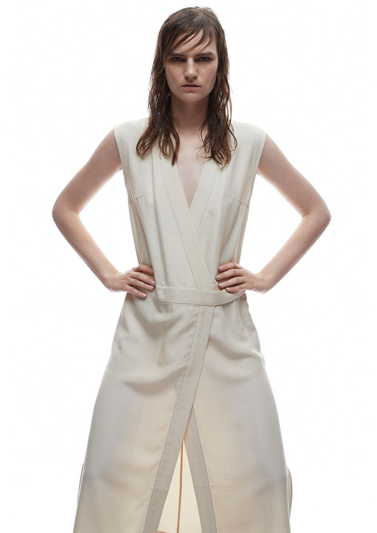 THIRD FORM SPRING 15 | ROBE WRAP DRESS #thirdform #fashion #streetstyle #style #minimalism #trend #model #black&white