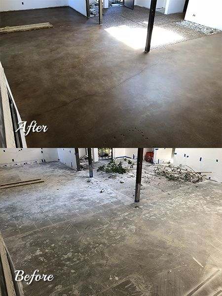 Remodeled Home With Stained Concrete Flooratte Finish Water Based Stain Was Used Along Creto Dps And A Two Coat Polyurethane Topical Sealer